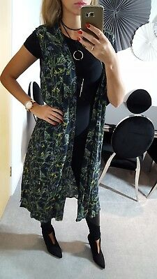 d257f3b27c0 Topshop Bnwt New Waistcoat Duster Coat Tunic Green Floral Size 10 Uk 6 Us