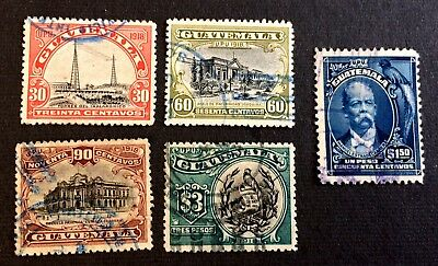 Guatemala 1918 - 5 old used stamps