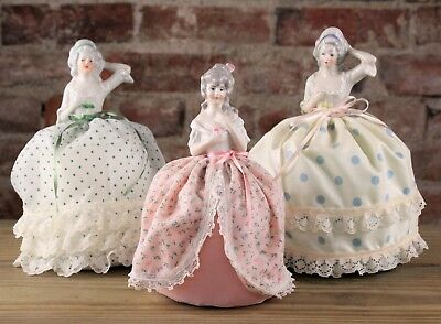 Three Vintage German & Japan Porcelain Pin Cushion Half Dolls No Reserve