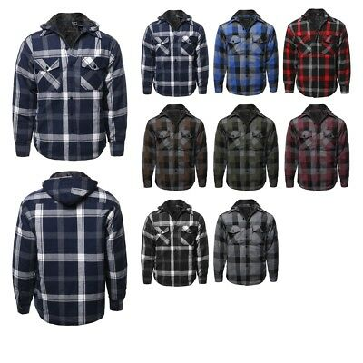 709c30def FashionOutfit Men's Casual Detachable Hoodie Plaid Flannel Quilted Button  Jacket