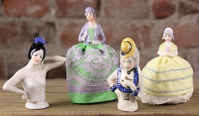 Four Vintage  Porcelain Pin Cushion Half Dolls No Reserve