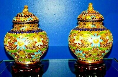 "Pair Of Vintage Cloisonne Temple / Ginger Jars / Vases 9.5"" Including Stands"