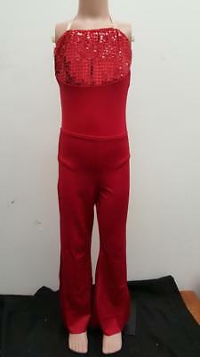 Dance Costume Medium Child Red Jazz Tap Costume Gallery Solo Competition Pageant