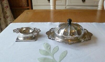 Edwardian Silver Plated Butter Dish (Original Glass Liner) and Tea Strainer