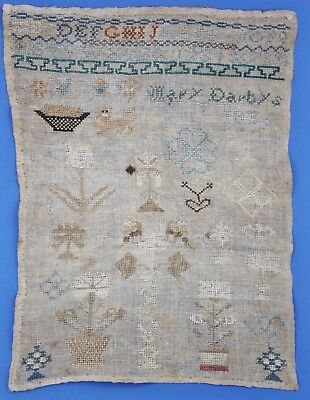 ANTIQUE NEEDLEWORK SAMPLER, by MARY DARBY 1836