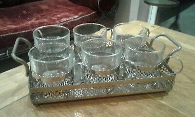 6 Vintage Silver Plated Tea Glass Holders and matching tray. High Tea B and B