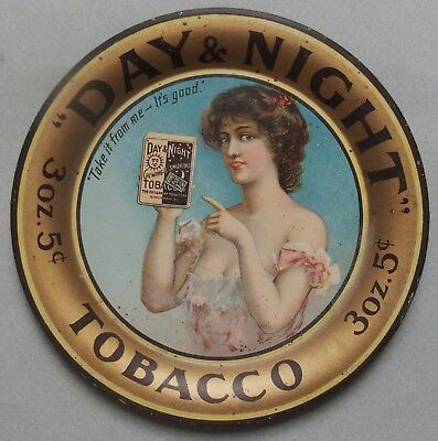"Nice Large ""day And Night"" Advertising Tobacco Tin  Tip Tray Excellent"