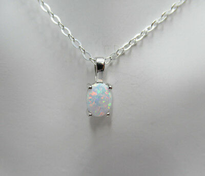 White Lab Opal Pendant - 925 Sterling Silver - Oval White Opal Necklace Jewelry