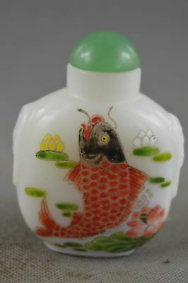 Collectable Chinese Agate Paint Goldfish Amulet Royal Ancient Art Snuff Bottle
