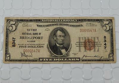 Series 1929 $5 National Bank Note 8347 First NB of Bridgeport IL Illinois P0040