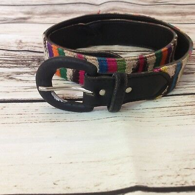 Vintage 90s Boho Mexican Striped Ladies Small Belt