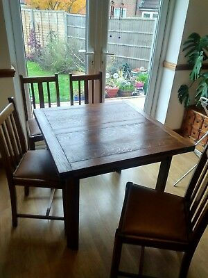 Antique Oak Extending Dining Table And Chairs