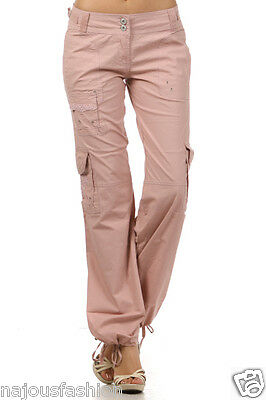 NWT Clash Cargo Army Cotton stretch pants 6 colors w/bun out detailed embroidery