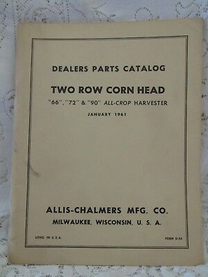 Vintage Allis-Chalmers Dealers Parts Catalog Two Row Corn Head