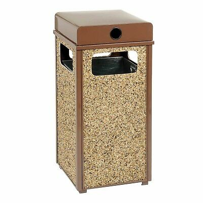 Global Industrial Stone Panel Trash Weather Urn Brown 17-1/2' Square X 36'H