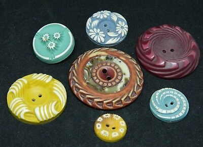 LOT Vintage Antique BUFFED Celluloid Buttons Colorful Lg to Small