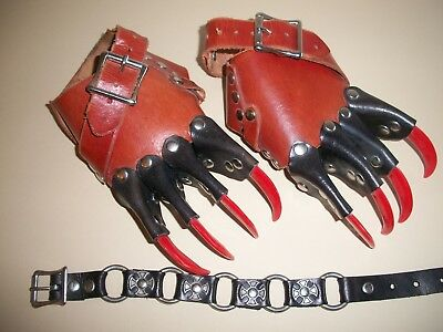 Brown/Black Leather Red Claw Gauntlet Gothic Gloves One Size Adjustable & Choker