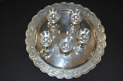Vietnam Tray Mit 5 Liquor Cups, Silver Plated Very Good Condition