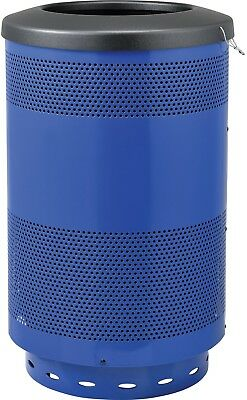 Global Industrial 55 Gallon Perforated Steel Receptacle W/ Flat Lid - Blue