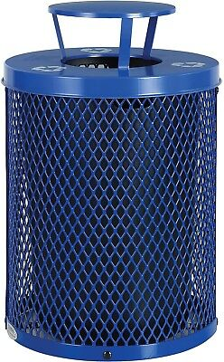 Global Industrial Thermoplastic 32 Gallon Mesh Recycling Receptacle W/Rain Lid