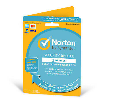 Norton Security Deluxe 2019 (3 Devices/1 Year) Internet Antivirus PC/Mac Licence