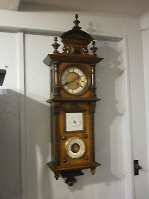 A Wall Clock, Thermometer & Barometer Set Vienna Style rare all sound to restore