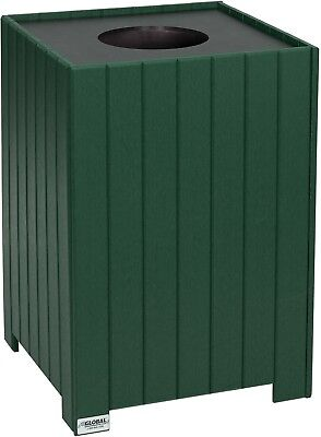 Global Industrial 32 Gallon Square Recycled Plastic Receptacle W/ Liner, Green