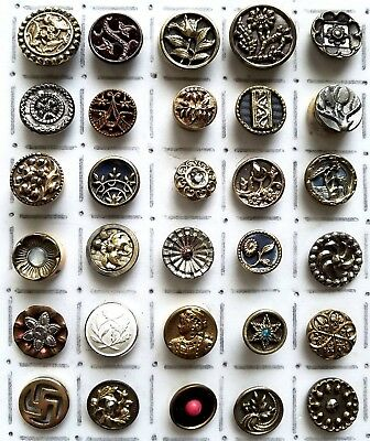 #2H Lot 30 Antique Flower Swastika Glass in Metal Woman Head Twinkle Buttons