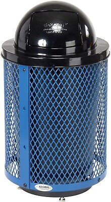 Global Industrial Deluxe Thermoplastic 32 Gallon Mesh Receptacle W/Dome Lid And