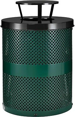 Global Industrial Thermoplastic 32 Gallon Perforated Receptacle W/Rain Bonnet -