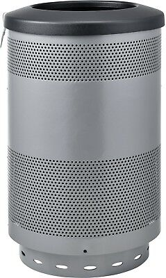 Global Industrial 55 Gallon Perforated Steel Receptacle W/ Flat Lid - Gray
