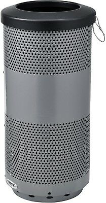 Global Industrial 20 Gallon Perforated Steel Receptacle W/ Flat Lid - Gray