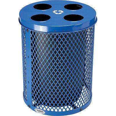 Global Industrial Thermoplastic 32 Gallon Mesh Recycling Receptacle Lid - Blue