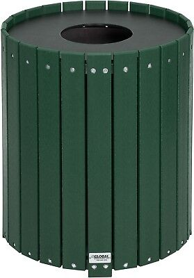Global Industrial 32 Gallon Round Recycled Plastic Receptacle W/ Liner, Green