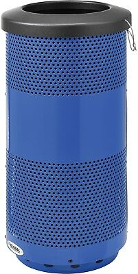 Global Industrial 20 Gallon Perforated Steel Receptacle W/ Flat Lid - Blue