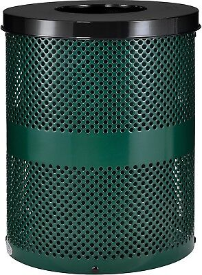 Global Industrial Thermoplastic Coated 32 Gallon Perforated Receptacle W/Flat -