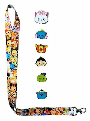 Tsum Tsum Lanyard and 6 Tsum Tsum Themed Disney Trading Pins Set - Brand NEW