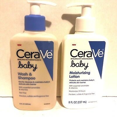 Set of 2- CeraVe Baby Wash & Shampoo PLUS Moisturizing Lotion- NEW