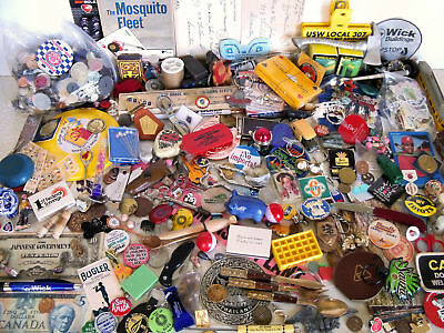 Vintage Junk Drawer Misc Lot $ Medals Tokens Coins Pins Buttons Stamps & More