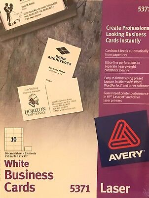 Avery Laser White Business Cards 5371
