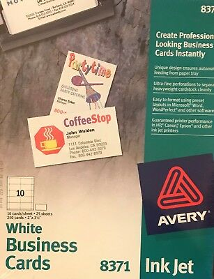 Avery Ink Jet White Business Cards 8371