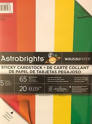 Wausau Astrobrights Sticky Cardstock 65# 5 Colors
