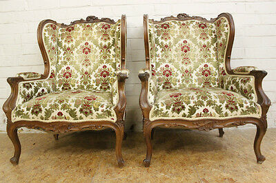 Pair of Antique French Louis XV Style Carved Bergere Arm Chairs