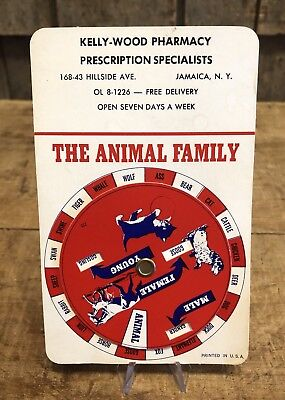 Vintage The Animal Family Male Female Young Pharmacy Advertising Chart Sign