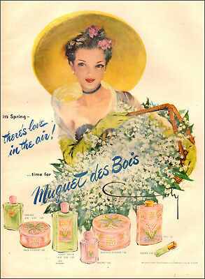 1951 vintage cosmetics AD MUGUET des BOIS by Coty Lovely Illustration!  070518