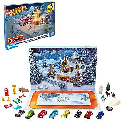 Hot Wheels Advent Calendar Christmas with 8 Cars & 16 Accessories