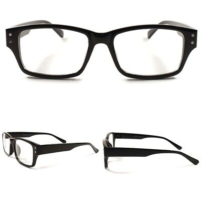 5f01c8c0fa Smart Stylish Geeky Rectangle Mens Womens Clear Lens Eye Glasses Black  Frames