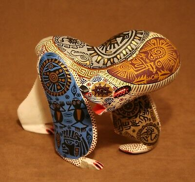 Polar Bear Oaxacan Alebrije Wood Carving Mexican Art Animal Sculpture Painting