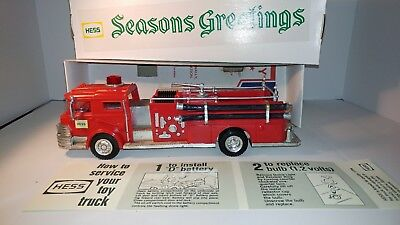 1970 Hess Fire Truck with Seasons Greetings Box and insert. Rare Antique Marx