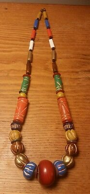 """24"""" Vintage Colorful Hand Crafted Etched Trade Red Clay Pottery Bead Necklace"""